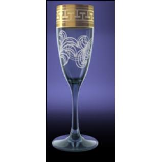 """GE01-1687 Набор 6 бокалов 170 мл шамп """"Эдем"""" с рисунком """"Греческий узор"""""""