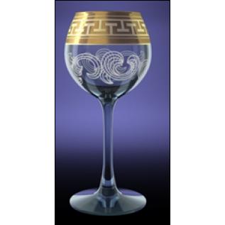 """GE01-1689 Набор 6 фужеров 210 мл вино """"Эдем"""" с рисунком """"Греческий узор"""""""